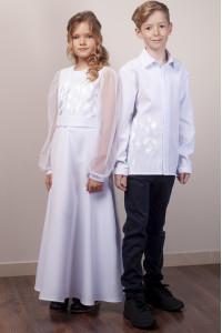 Платье для девочки «Тюльпановое поле» белого цвета