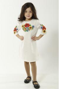 Сукня для дівчинки «Український букет» сірого кольору
