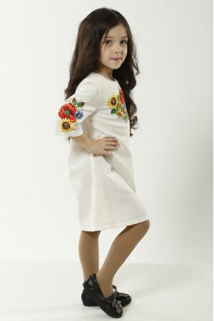 Платье для девочки «Украинский букет» серого цвета