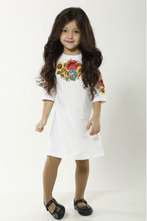 Платье для девочки «Украинский букет» белого цвета