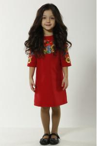 Сукня для дівчинки «Український букет» червоного кольору