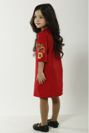Платье для девочки «Украинский букет» красного цвета