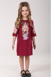 Платье для девочки «Лилия» вишневого цвета
