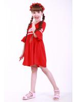Платье для девочки «Детская фантазия» красного цвета