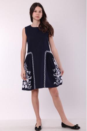 Платье для девочки «Мелодия» темно-синего цвета