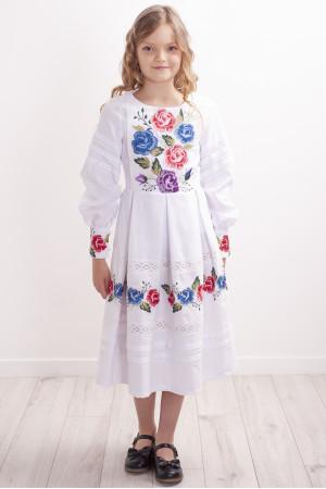 Сукня для дівчинки «Колорит троянд» білого кольору