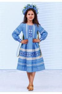 Платье для девочки «Феерия» голубого цвета, длинное