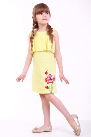 Платье для девочки «Мак полевой» желтого цвета