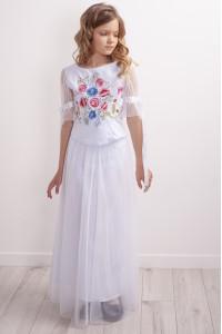Костюм для девочки «Песнь цветов» белого цвета