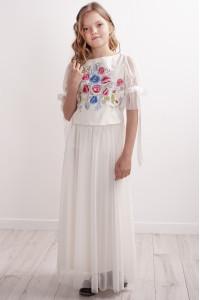 Костюм для девочки «Песнь цветов» молочного цвета