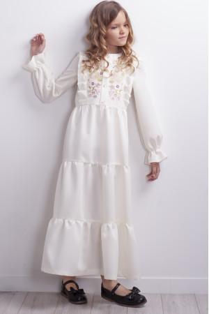 Сукня для дівчинки «Гомін квітів» молочного кольору