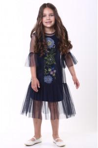 Платье для девочки «Цветочное» темно-синего цвета