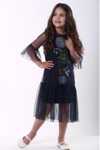 Сукня для дівчинки «Квіткова» темно-синього кольору