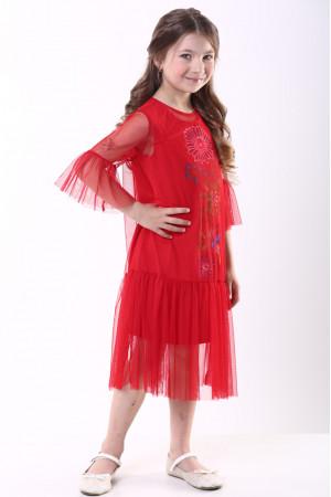 Платье для девочки «Цветочное» красного цвета