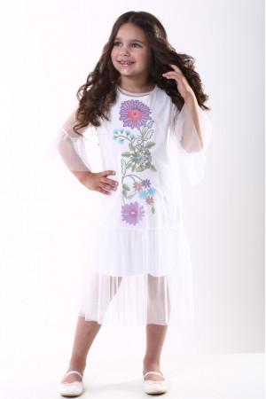 Платье для девочки «Цветочное» белого цвета