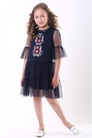 Сукня для дівчинки «Ромашкова» темно-синього кольору