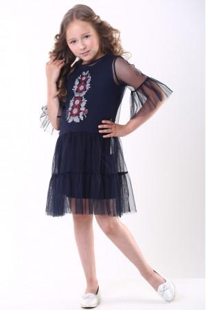 Платье для девочки «Ромашковое» темно-синего цвета