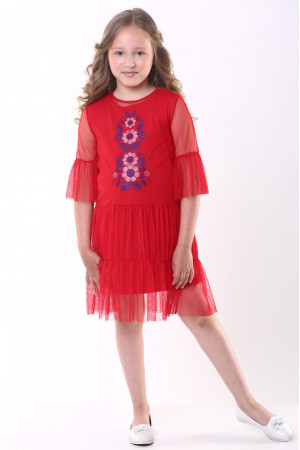 Сукня для дівчинки «Ромашкова» червоного кольору