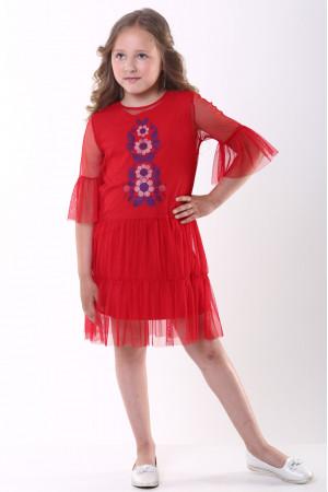 Платье для девочки «Ромашковое» красного цвета