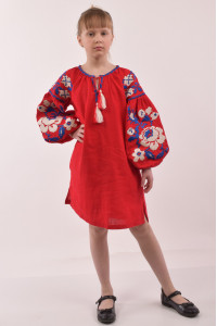 Сукня для дівчинки «Левада» червоного кольору