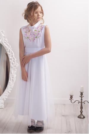 Сукня для дівчинки «Квіткова гармонія» білого кольору з рожевою вишивкою