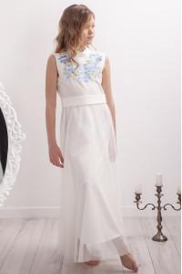 Платье для девочки «Цветочная гармония» молочного цвета