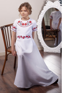 Платье для девочки «Цветочный дуэт» белого цвета