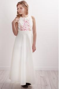 Платье для девочки «Завитки» молочного цвета