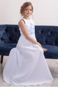 Платье для девочки «Завитки» белого цвета