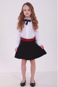 Юбка для девочки «Грация» с красной вышивкой