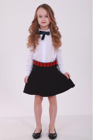 Спідниця для дівчинки «Грація» з червоною вишивкою