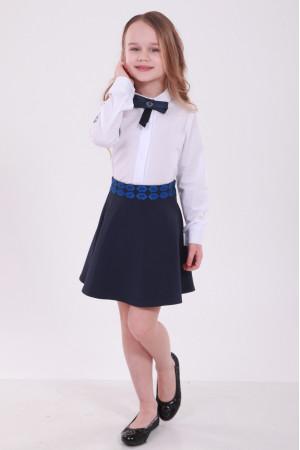 Юбка для девочки «Грация» с синей вышивкой