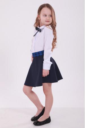 Спідниця для дівчинки «Грація» з синьою вишивкою