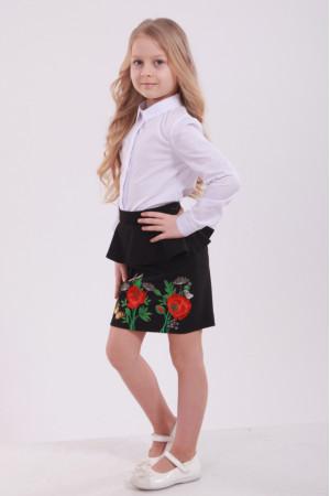 Юбка для девочки «Фантазия с бабочкой» черного цвета