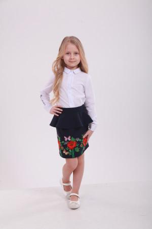 Юбка для девочки «Фантазия с бабочкой» темно-синего цвета