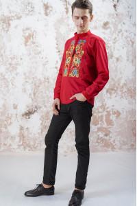 Чоловіча вишиванка «Український букет» червоного кольору