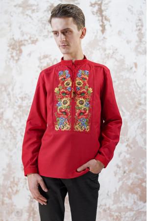 Мужская вышиванка «Украинский букет» красного цвета