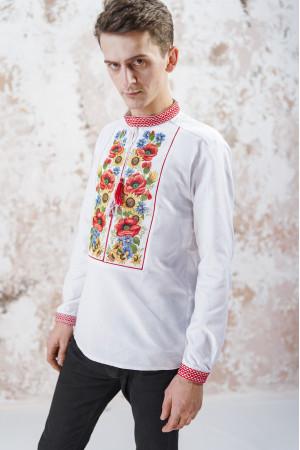Мужская вышиванка «Украинский букет» белого цвета
