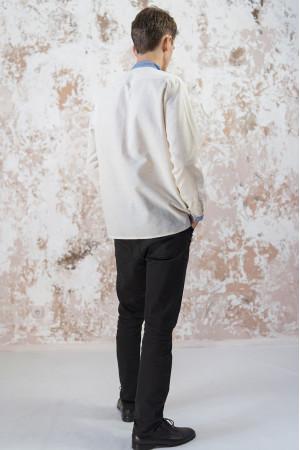 Мужская вышиванка «Васильковые мечты» серого цвета