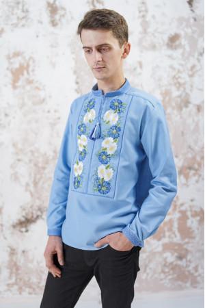 Мужская вышиванка «Васильковые мечты» голубого цвета