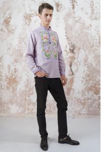 Чоловіча вишиванка «Лілея» бузкового кольору