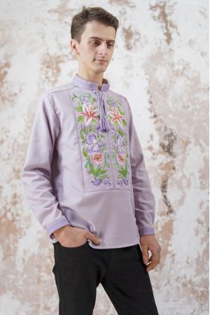 Мужская вышиванка «Лилия» сиреневого цвета