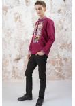 Чоловіча вишиванка «Лілея» вишневого кольору