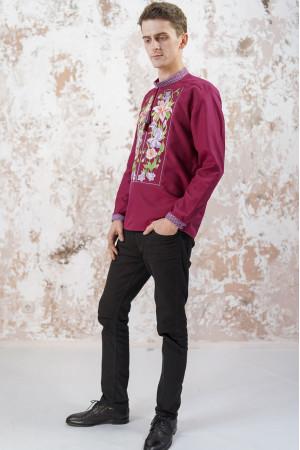 Мужская вышиванка «Лилия» вишневого цвета