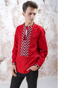 Мужская вышиванка «Очарование» красного цвета
