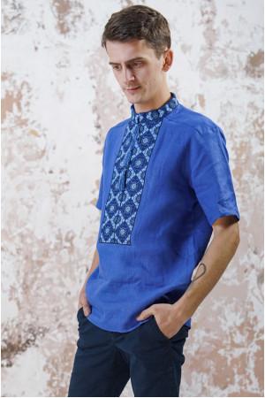 Мужская вышиванка «Мотивы геометрии» цвета электрик