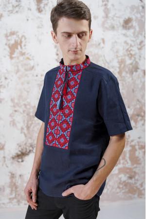 Чоловіча вишиванка «Мотиви геометрії» темно-синього кольору
