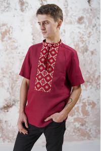 Мужская вышиванка «Мотивы геометрии» цвета бордо