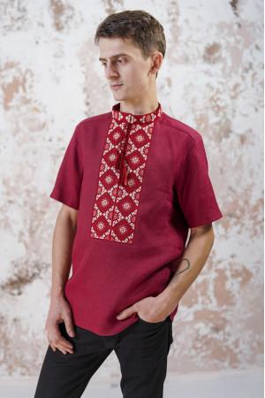 Чоловіча вишиванка «Мотиви геометрії» вишневого кольору