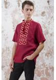 Чоловіча вишиванка «Мотиви геометрії» кольору бордо
